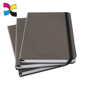 High quality free sample custom printed black line PU leather notebook cheapest