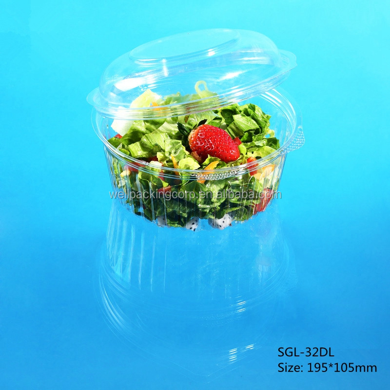 Round Disposable Plastic Salad and Food Packing Container with hinged dome lid