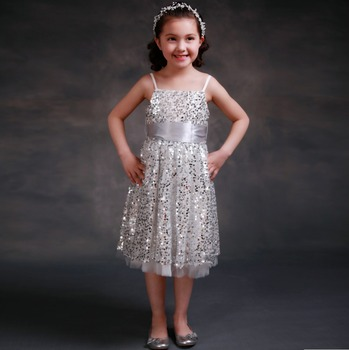0e3fb78ff4ef Glamour Pageant Dresses For Girls 2-11 Years Appliques silver sequin Kids  Evening Gown shinning