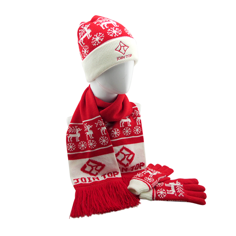 New Design Cheap Custom Wholesale Christmas Hat And Scarf Set