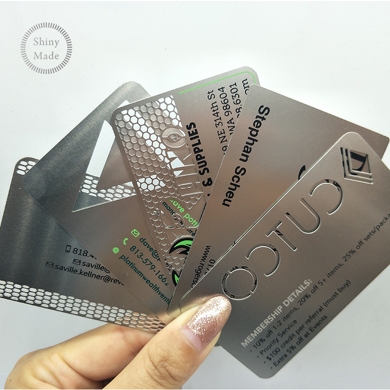 Custom cheap stainless steel  laser cut blank black metal business card,metal credit card