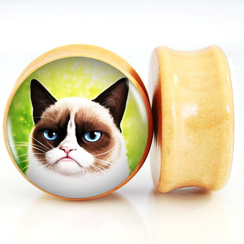 2pcs/Lot Pair of Nature Wood Ear Plugs Fit Ear Gauges Plugs Flesh Tunnels- Grumpy Cat 6MM-25MM 2G-1''