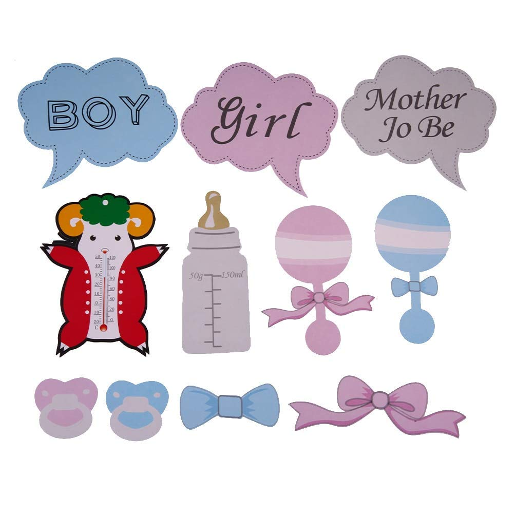 Multicolor Forum Novelties Party Supplies Gender Reveal Baby Party Photo Booth Set of 12 Decor Cutouts One Size