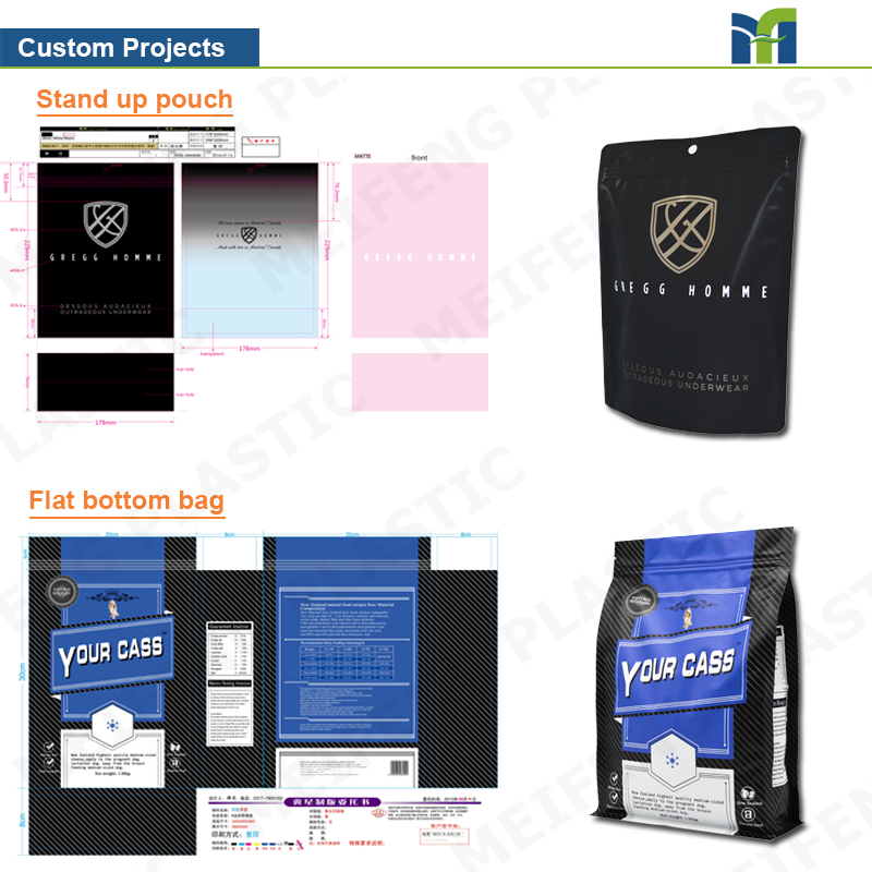 Custom Printing Plastic Pet Feed Packaging Zipper Dog Food Bag