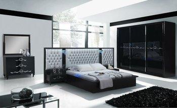 Avant Garde Sliding Bedroom Set Black Silver