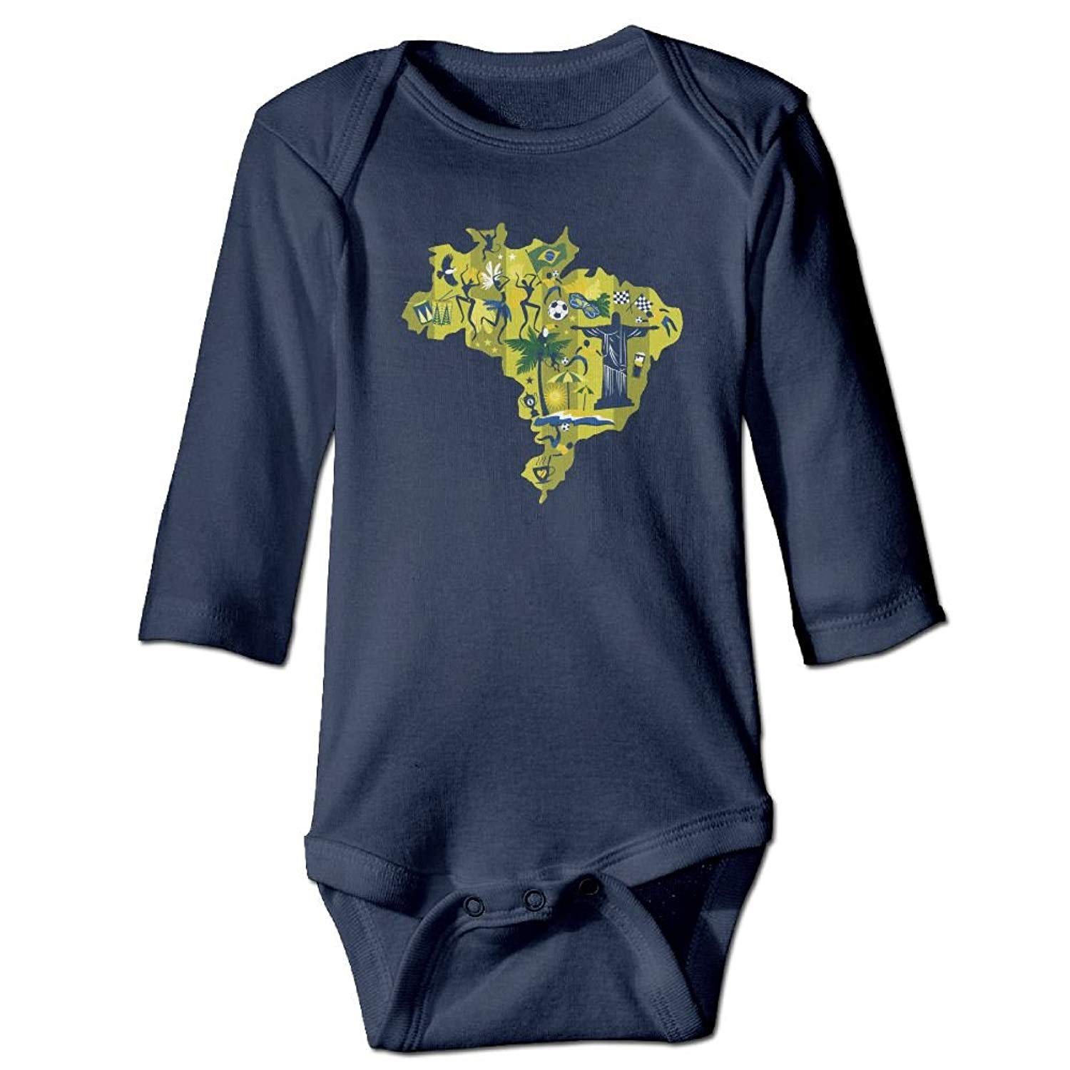 braeccesuit Brazil Flag with Soccer Ball Baby Newborn Crawling Clothes Sleeveless Romper Bodysuit Onesies Jumpsuit White