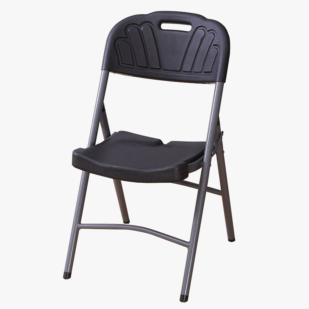 Folding chair / simple modern dining chair / office conference chair / home portable chair / training plastic chair stool ( Color : Black )