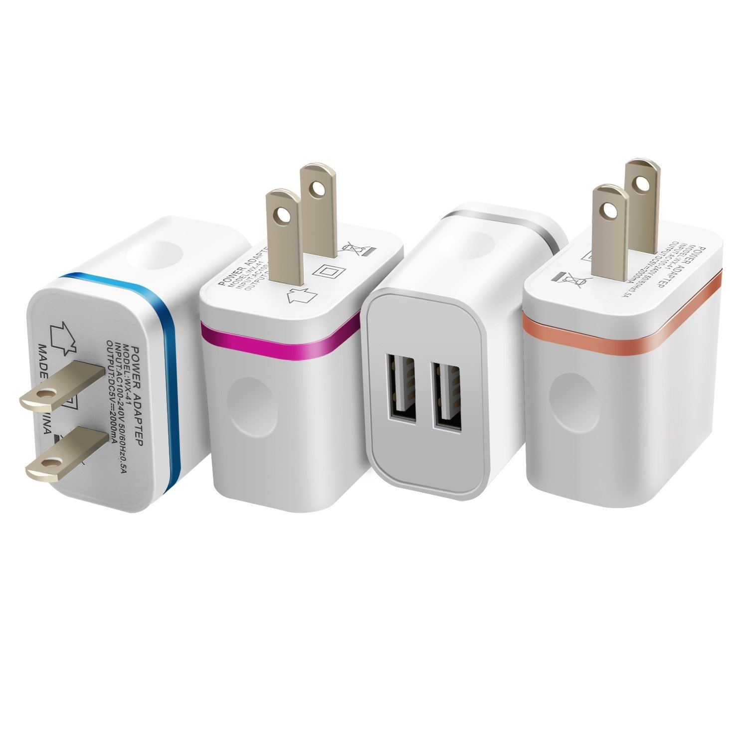 Costyle 4-Pack 5V/2.0Amp Dual USB 2-port Easy Grip Home Travel Wall Charger Adapter for iPhone X 8 7 SE 6s Plus, iPad Air Mini, Samsung Galaxy S8 S7 Note 8 6, Motorola, Sony -Gray Rose Gold Blue Rose