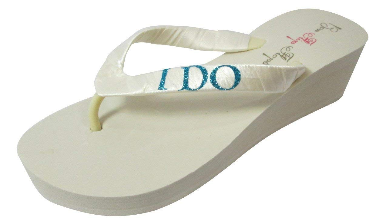 e63a739ac6ea17 Get Quotations · Wedge Flip Flops - I Do Bling- Customized Glitter Color -  vory White Bride Wedding