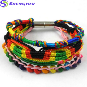 Bohemian Jewelry Fashion Multicolor Lines Magnetic Clasp Charm Bracelet Women