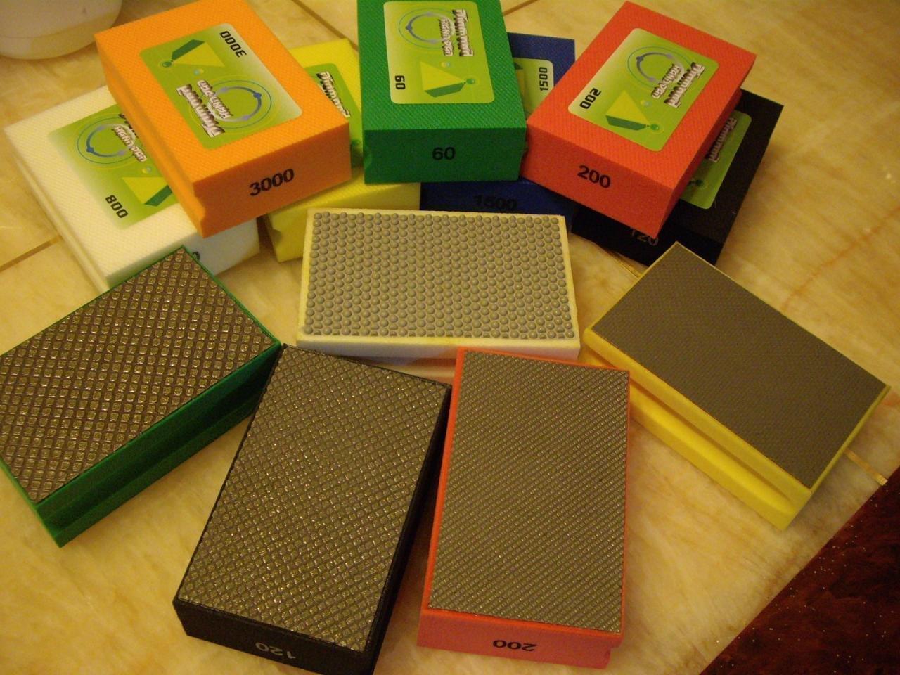 Diamond Hand Polishing Pads for Stone Concrete Granite Marble Glass Terrazzo - Set of 7 Pcs