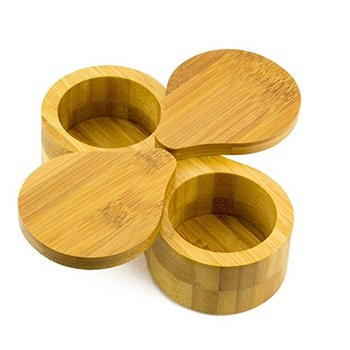 Bamboo Double Round Spice Box Salt And Pepper Storage Kitchenware