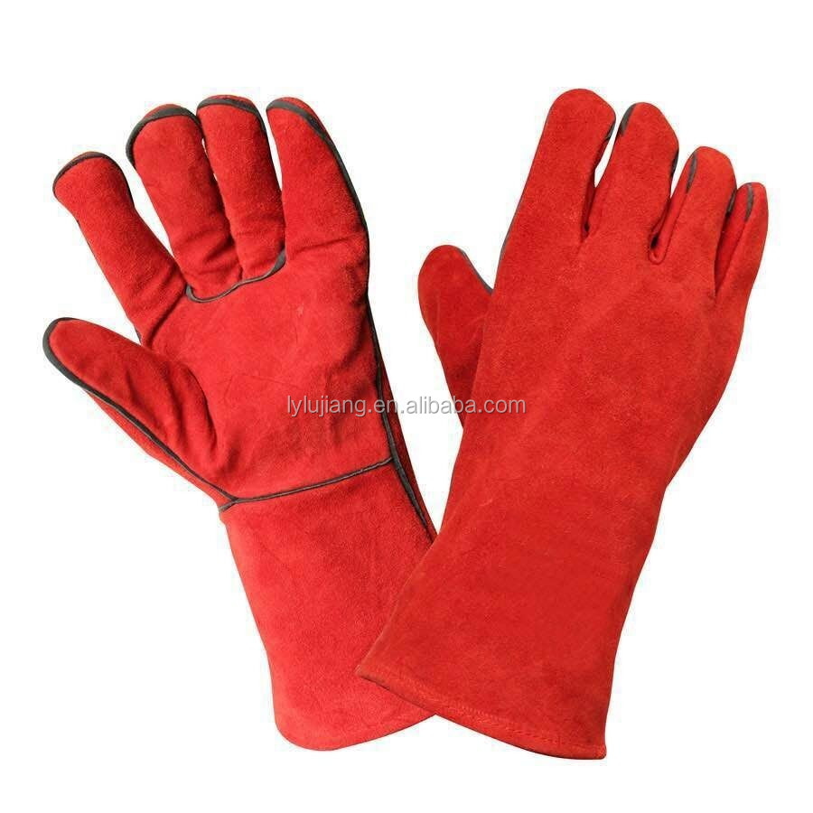 Wholesale Long Cuff CowSplit Leather Safety Work Gloves/cheap leather gloves/brown leather driving gloves