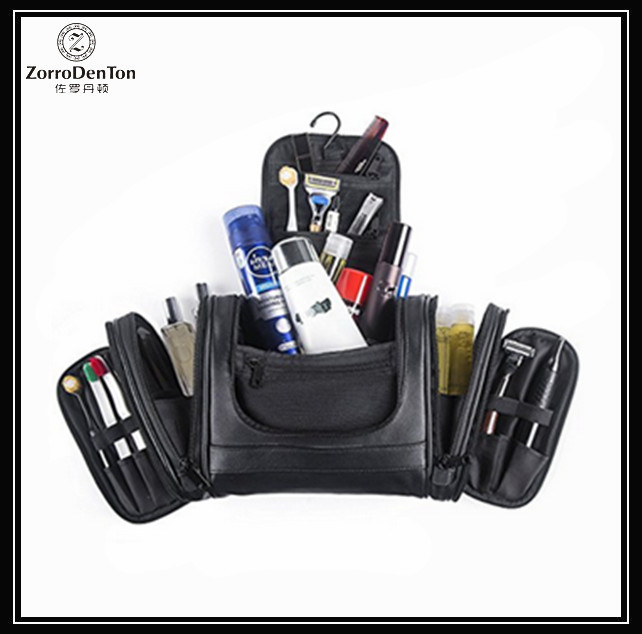 Luxury Extra Large PU Leather Hanging Travel Toiletry Bag Organizer Kit for Men Black