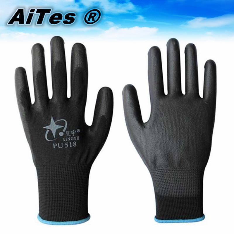 13 г черный пу перчатки работы покрытием ладони, Рабочие перчатки, Защиты при работе поставки-защитные, Защитные перчатки pu518, Guantes trabajo 10 шт. / 5 пара