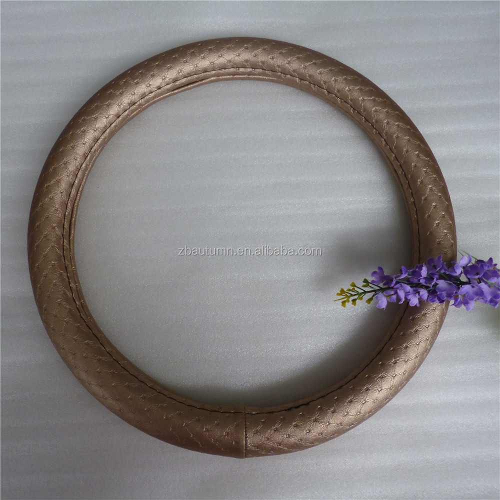Comfortable brown decorative leather steering wheel cover