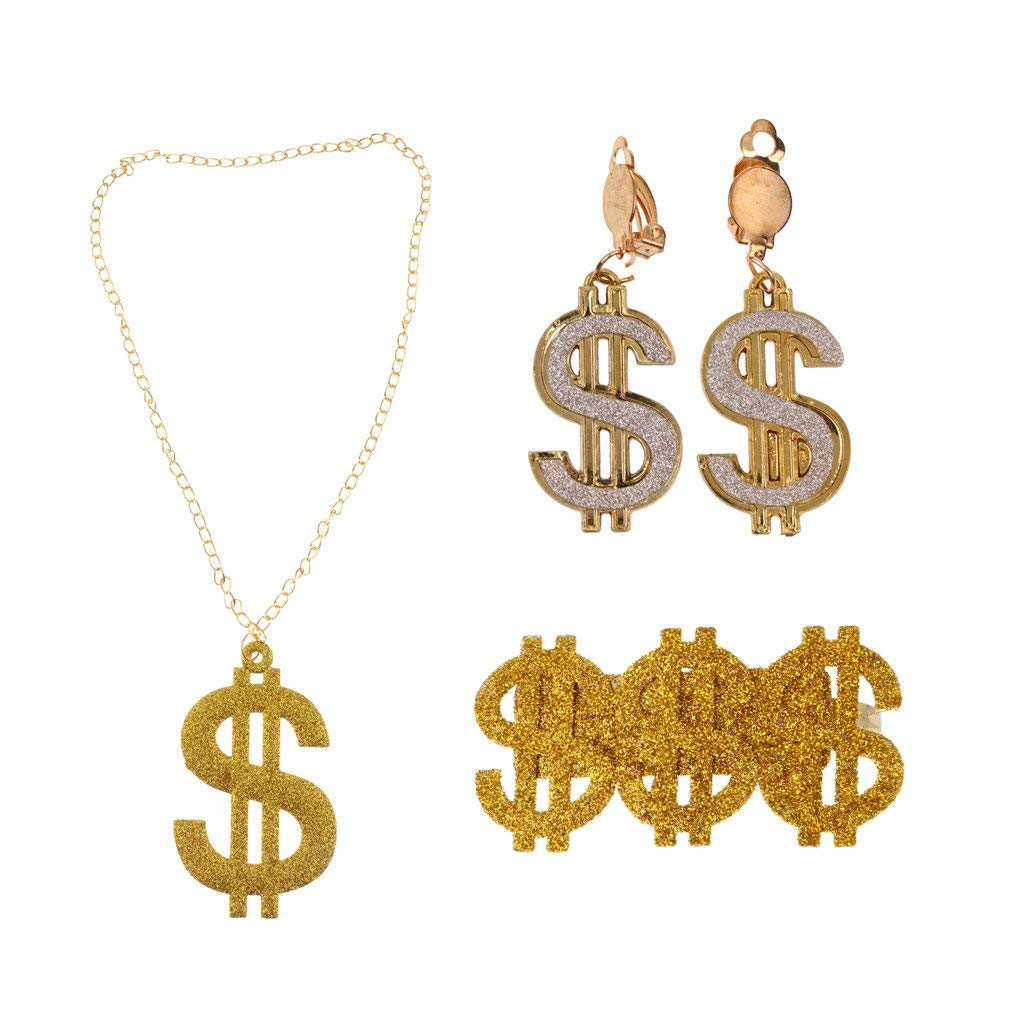 222f43957450 Get Quotations · D DOLITY Pack of 3pcs Shining US Dollar Signs Rings  Earrings Necklaces 80s Rapper Big Daddy