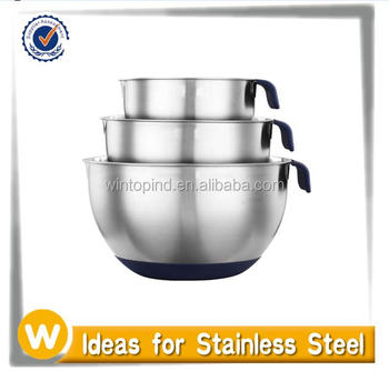 3pcs Stainless Steel Mixing Bowl Set With Soft Handle & Spout