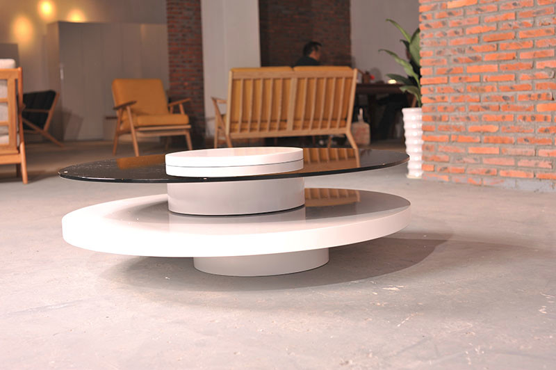Round glass living room table buy round tablesdouble deck table