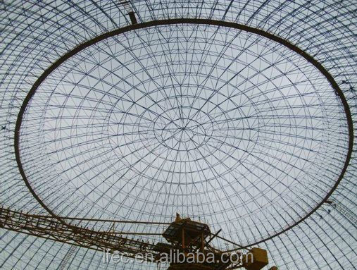 Lightweight steel space frame dome coal storage with roof cover