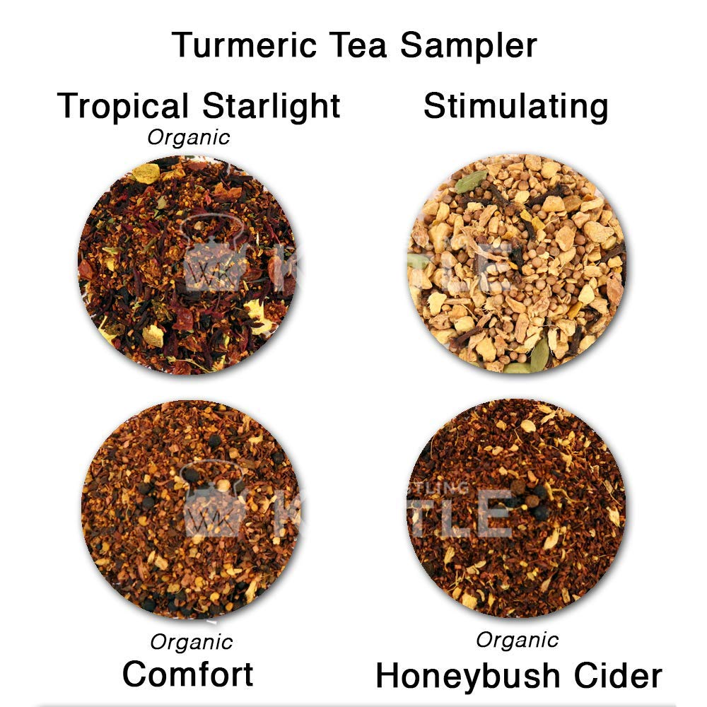 Turmeric Tea Sampler - Tea Gift Sampler with Reusable Silicone Infuser - 4 Loose Leaf Teas - Naturally Caffeine Free - Turmeric, Citrus, Vanilla, Ginger, Cinnamon