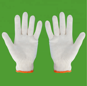 Natural color soft cotton knitted gloves