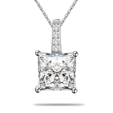 Christmas Gift for Woman 925 Silver Cubic Zircon Square Initial Pendant Necklace Love Gift for Woman Online Shop China