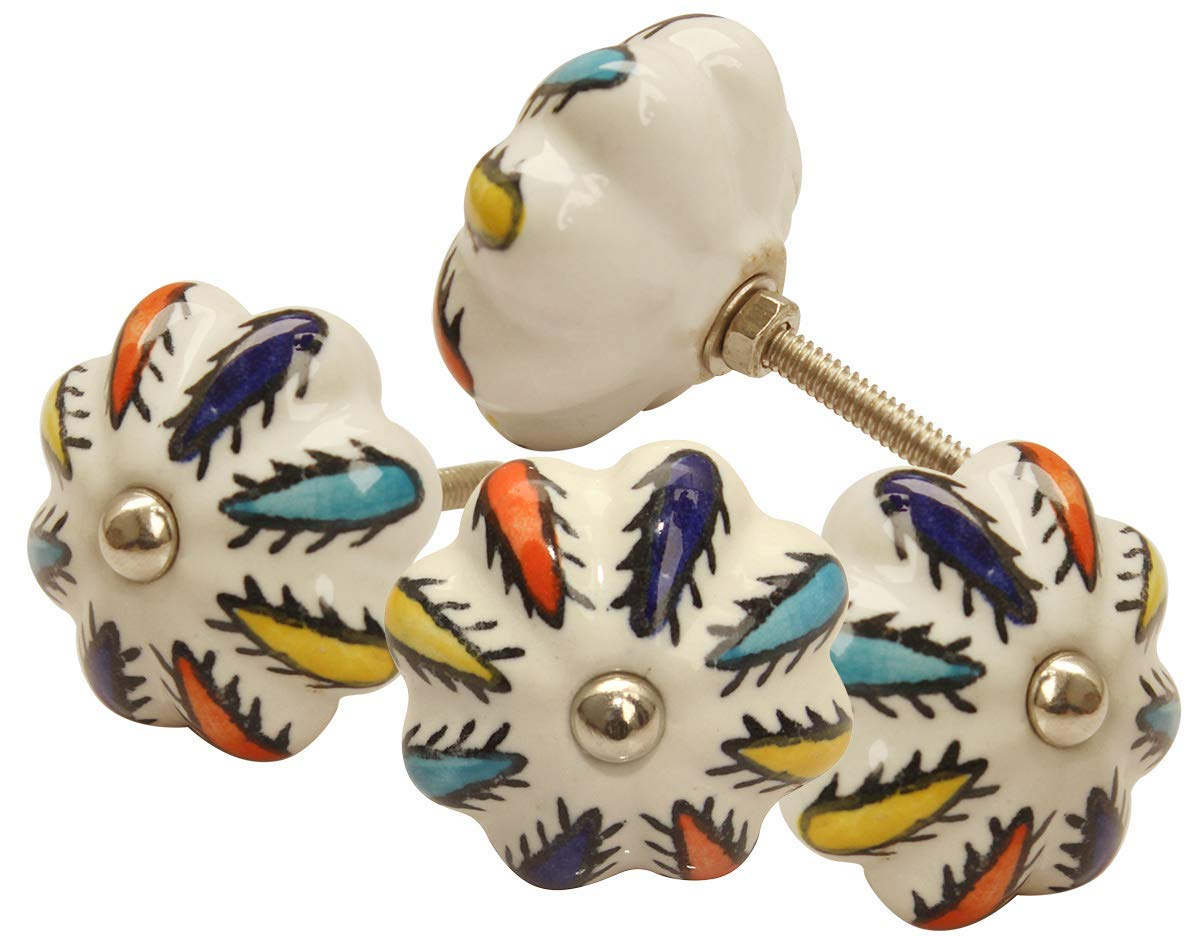 abhandicrafts Set of 4 Ceramic Door Knobs, Multi Color Cactus Design Hand Painted Ceramic Pumpkin Cupboard Wardrobe Cabinet Drawer Door Handles Pulls Knob