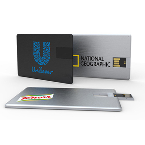 Promotional Novelty Anniversary Alloy USB Card With Metallic Finish