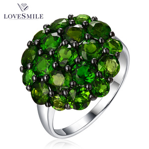 Fashion new design diopside natural gemstone rings ladies value 925 silver ring for female