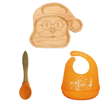 baby Feeding Plate Santa Natural Bamboo Baby Suction plate with Matching Spoon & Bib Set