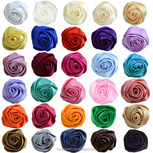 5.5CM multilayer handmade satin ribbon rose flowers for DIY wedding bouquet hair accessories FLS004