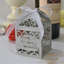 Laser cut paper filigree personalized silver color wedding favour boxes