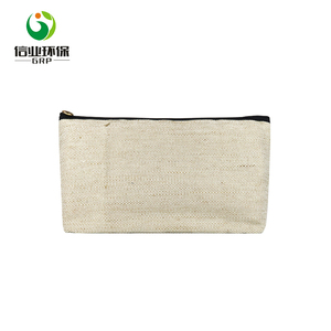 custom zipper ladies make up cotton jute organic cosmetic bag