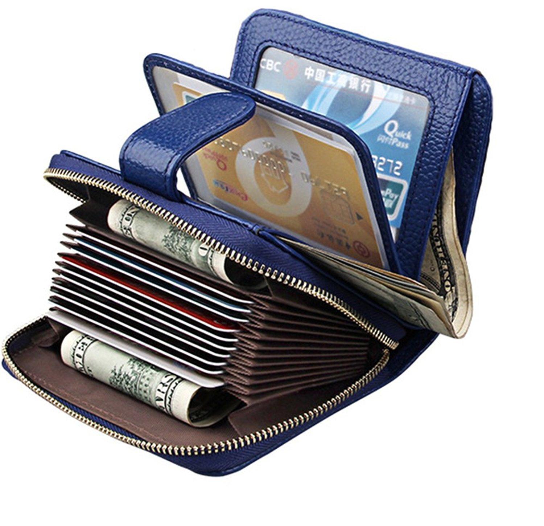 3d14364f6a586 Get Quotations · Genuine Leather Women Short Wallet Card Holder Wallet  Credit Card Case Wallet