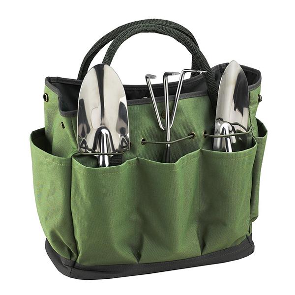 Beautiful Product Description, Multi Pocket Garden Tool Bag Heavy Duty Green  Polyester Garden Tool Tote Bag