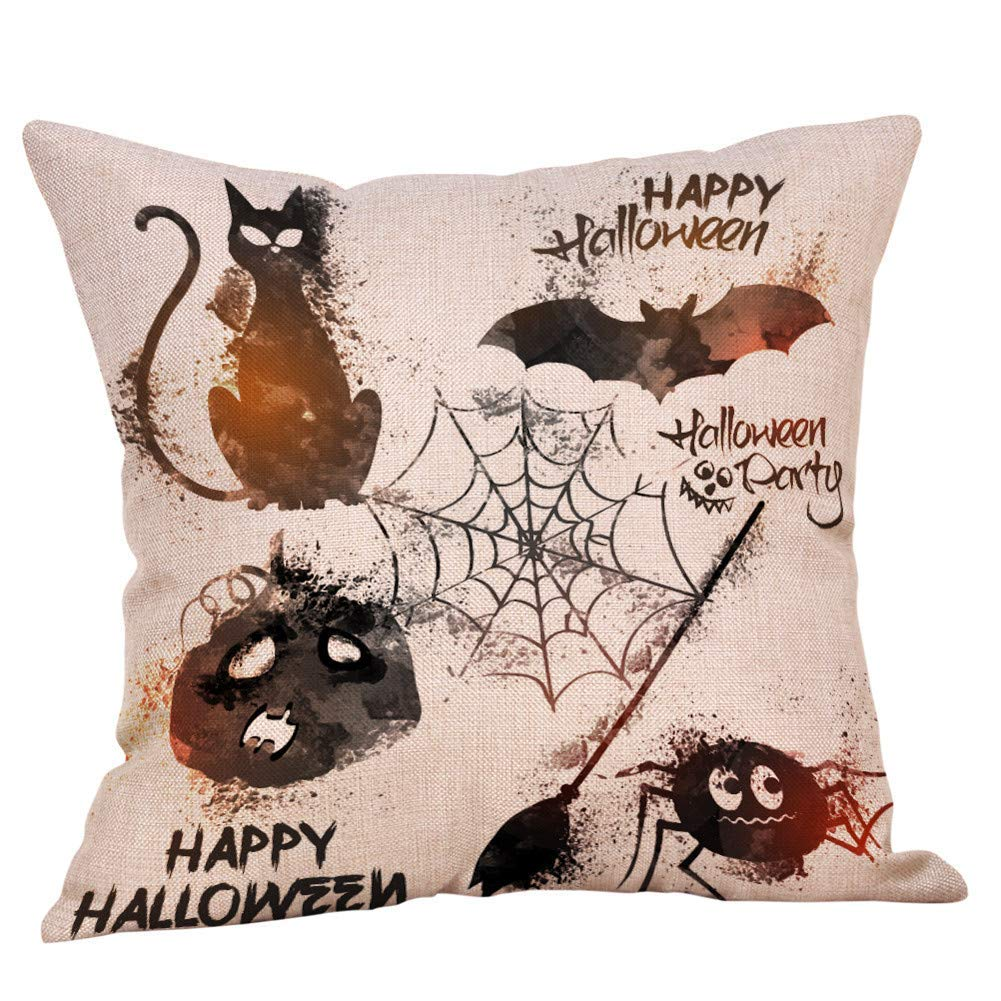 MaxFox Halloween Pumpkin Ghosts Throw Pillow Cover Square Cotton Linen Pillow Case Cushion for Office Home Room Car Decor