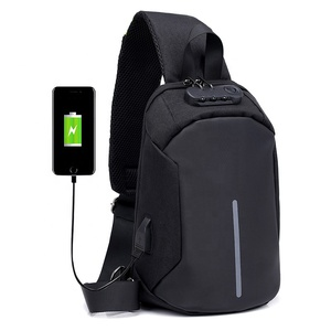 Wholesale Men Anti theft Crossbody Messenger Chest Bags Smart USB charging Shoulder Sling Chest Bag