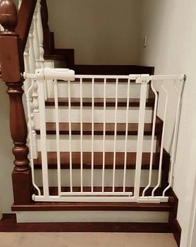 Metal Dog Gate Multifunctional Indoor Baby Barrier  Auto Close Pressure  Extra Walk Through Safety Gate