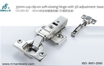 ronglisi 35mm cup clipon soft close cabinet hinge door hinge with 3d adjustment base