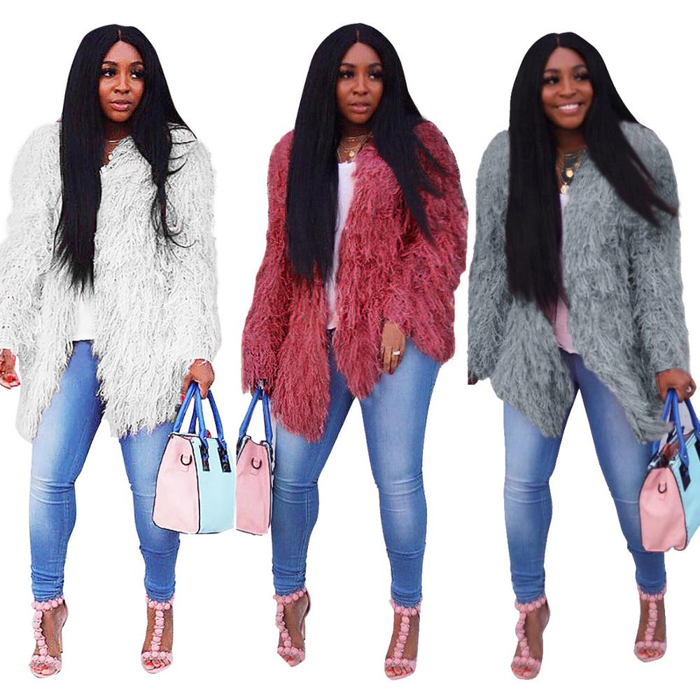 0625M0007 wholesale solid color faux fur new women fashion long winter sweater cardigan