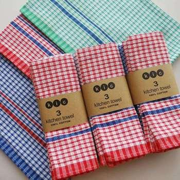 Cotton Dish Cloth Plaid Kitchen Towels Bulk Tea Eco Friendly Clean Scouring Pads