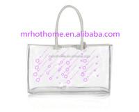 Wholesale Fashion Clear Plastic PVC Vinyl Tote Bags With Shoulder Handle