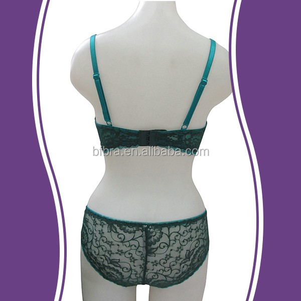 d3dd0790db34 High quality embroidery stylish dark green hot girl plus size lace bra  panty set