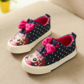 Canvas Shoes for Girls 2016 New Autumn Bowtie Polka Dot Fashion Sneakers Denim Casual Girls Princess
