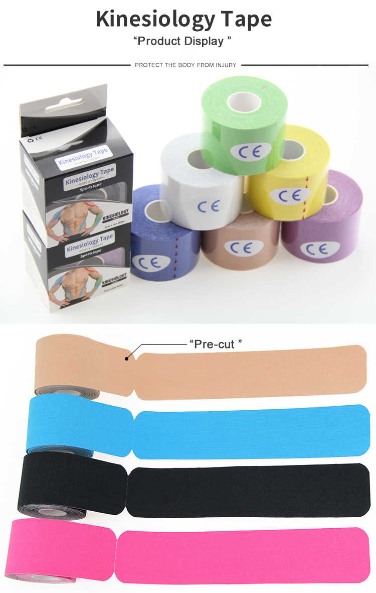 cotton physio therapy sport kinesiology tape printed muscle therapeutic sports tape with assorted colors OEM accepted