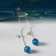2019 New design big blue stone star and planet silver dangle drop earrings