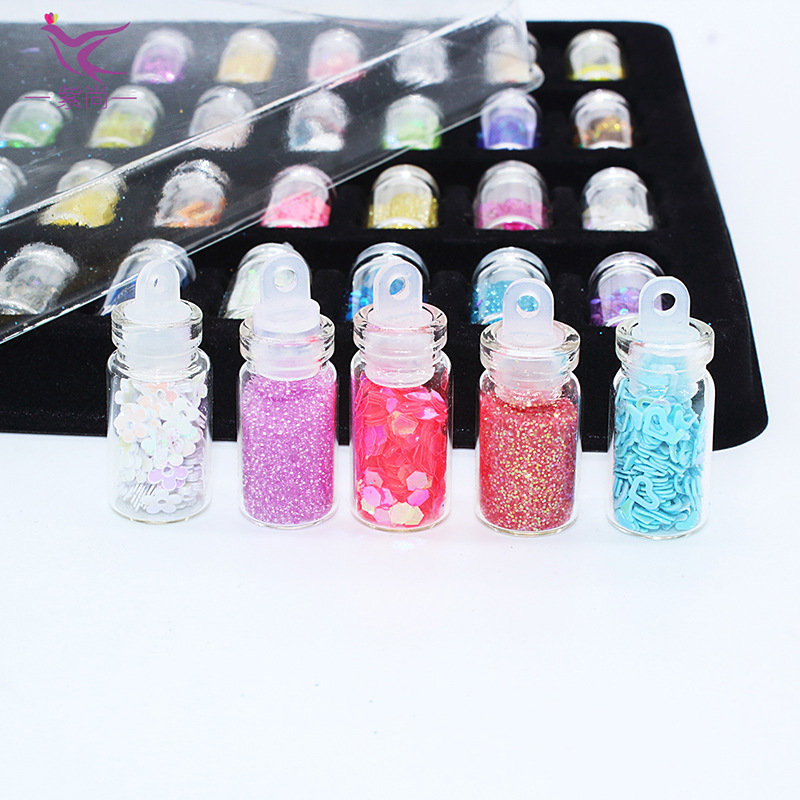 48 color/set DIY shlem glitter sequins glass beads shell powder glass bottle nail accessories