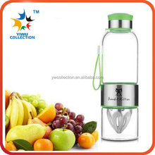 BPA free wholesale custom logo private label glass fruit infuser water bottle with bamboo lid / fruit infuser