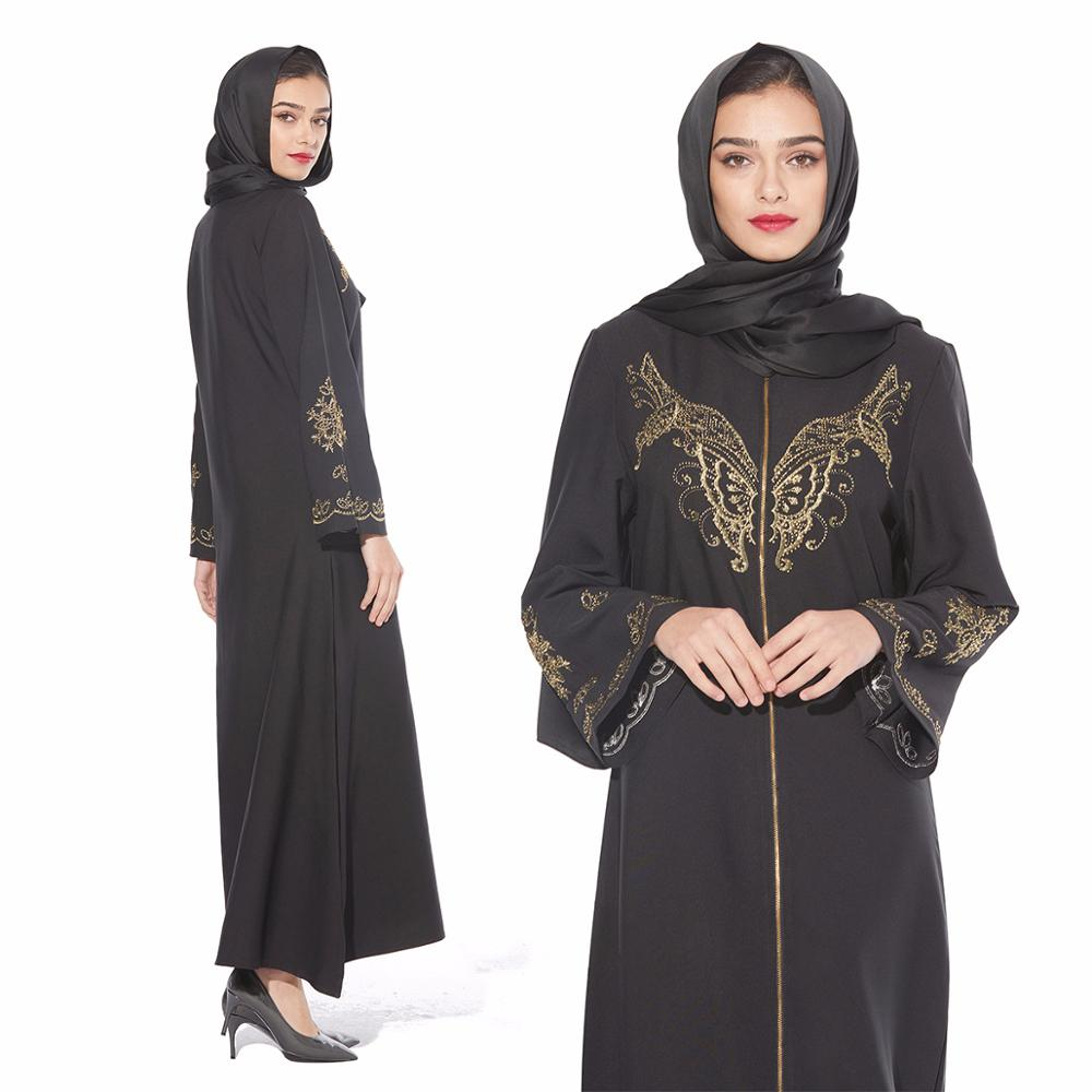 Muslim dress hot drilling butterfly embroidered robes Ramadan abaya